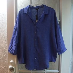NIC+ZOE 100%Linen Button Up 3/4Sleeve Blouse *NWT*